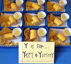 Y is for Yucky and Yummy. A fun way to test little taste buds!