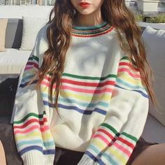 RAINBOW STRIPES WHITE KNIT VOLUME SWEATER #print #grunge #ulzzang #southkorean #koreanfashion #fashion #trendy #cute #kawaii #harajuku #aesthetic #aesthetics  #japanese #tumblr #tumblrgirl #tumblroutfit #clothing #outfit #itgirlshop #itgirlclothing #white #sweater #knit #rainbow #lines #stripes