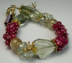 Ruby Bracelet with Prasiolite, Citrine, Rutilated Quartz, and Vermeil- Ruby Alfresco