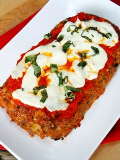 Chicken Parmesan Meatloaf    This is so good your house will smell amazing while it's cooking in the oven, I like to change up the marinara for roasted red pepper sauce, let me give you a little tip my fellow Trader Joe lovers, they have the best jar of red pepper spread that I use all the time, It's called Red Pepper Spread with Eggplant and Garlic, you really can't taste the eggplant, but the red pepper flavor is outstanding.