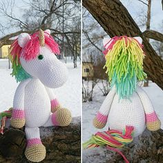 Ravelry: Emmie Eenhoorn (modificatie) pattern by Kristel Droog Crochet Horse, Crochet Unicorn, Love Crochet, Crochet Animals, Crochet Baby, Knit Crochet, Crochet Crafts, Crochet Dolls, Crochet Projects