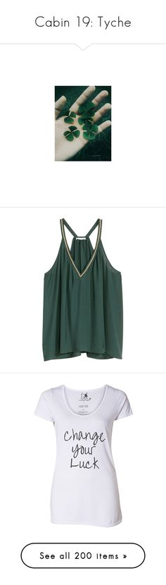"""Cabin 19: Tyche"" by aquatic-angel ❤ liked on Polyvore featuring tops, h&m, shirts, sleeveless tops, petrol, pleated shirt, embroidered top, polyester shirt, pleated top and green v neck shirt"