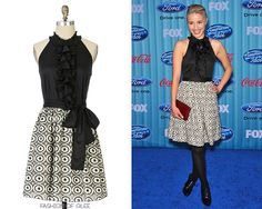 Dianna Agron arrives at the American Idol Season 8 Top 12 Party, Los Angeles, March 5, 2009 Anthropologie Evening's Promise Dress- No longer available