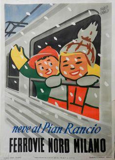 Manifesto pubblicitario per Ferrovie Nord Milano. Progetto grafico di Carlo Dradi, (1908 - 1982).