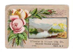1884 WHEELER & WILSON SEWING MACHINE Trade Card ROSES MOUNTAINS Gloversville NY
