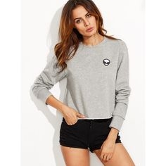 Heather Grey Raw Hem Sweatshirt With Embroidered Alien Patch ($22) ❤ liked on Polyvore featuring tops, hoodies, sweatshirts, embroidered cotton sweatshirt, heather grey sweatshirt, print pullover, cotton pullover sweatshirt and print sweatshirt