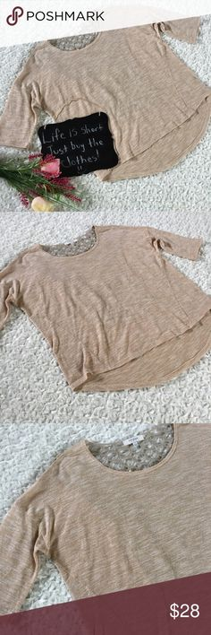 """Umgee tan crochet back top Beautiful tan 3/4 sleeve top by Umgee. Has a gorgeous crochet back. Size L. It's high low style. 24"""" arm pit to arm pit. 23.5/27"""" length. Umgee Tops"""