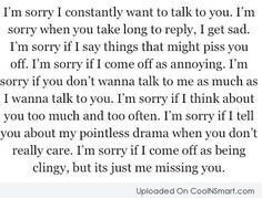 I can relate.. I don't want to be your stalker.. I need reassurance..