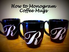 Add a personal touch to a ceramic coffee mug with a DIY monogram!