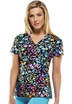 """Stay colorful in this """"Posey On Over The Rainbow"""" Dickies top!   The Uniform Outlet"""