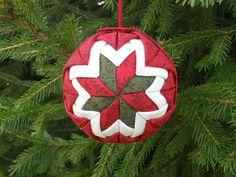 LeMoyne Star Fabric Ornament - Christmas Ball Ornament - folded star ornament