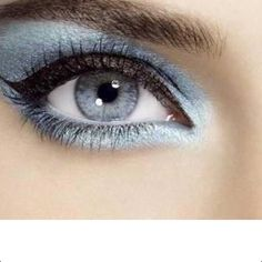 This is a dramatic ice-blue smokey eye that works well with lighter blue eyes. My Beauty, Beauty Makeup, Hair Makeup, Hair Beauty, Pretty Eyes, Beautiful Eyes, White Eyeshadow, Blue Eye Makeup, Nude Lip