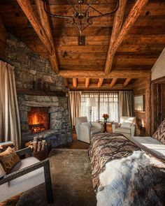 "4,852 Likes, 50 Comments - Custom Timber Homes (@customtimberhomes) on Instagram: ""Rustic relaxation. . . #relax #sleep #fireplace #warmth #bedroom #vacation #architecture #loghome…"""