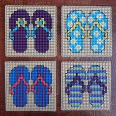 Embroidery Pattern: Flip Flops Summer Coasters