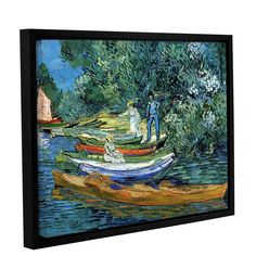 Bank Of The Oise At Auver by Vincent Van Gogh Floater Framed Painting Print Gallery Wrapped on Canvas