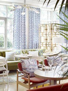 Byblos Miami, South Beach, Miami, Florida, USA. Interior Design by Studio Munge.   Follow @studiomunge   www.studiomunge.com _______________________________________________ #design #interior #hospitality #restaurant #byblos #miami #inkentertainment #studio #munge #studiomunge #decor #inspiration #lounge #red #orange #artdeco #palmtree #vibe #summer #gold #screen #pattern