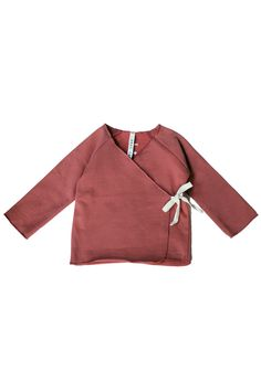 Wrap top with long raglan sleeves with lockstitch details.
