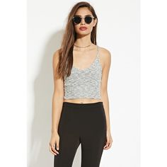 Forever 21 Forever 21 Women's  Cropped Sweater Cami (€14) ❤ liked on Polyvore featuring tops, sweaters, vneck sweater, padded camisole, crop top, v neck sweater and white cropped sweater