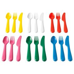 IKEA KALAS cutlery set Multicolour Colourful, impact resistant, scratch resistant and grip-friendly. Perfect for small children who tend to drop, spill and make a mess in their eagerness to learn how to eat on their own. Childrens Bedroom Furniture, Playroom Furniture, Bedroom Furniture Sets, Kids Furniture, Trofast Ikea, Ikea Duktig, Kallax Shelf Unit, Ikea Playroom, Disposable Tableware