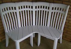 4 chairs repurposed into corner bench