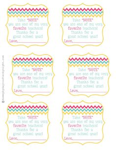 take note printable--perfect to go with post-it pad gift for teacher appreciation