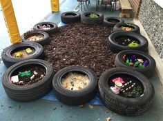 A huge collection of ideas and inspiration for reusing tyres in outdoor play creatively safely. Save money on outdoor play equipment by upcycling! Project safety tips included for early childhood educators and teachers. Outdoor Learning Spaces, Kids Outdoor Play, Outdoor Play Areas, Outdoor Playground, Outdoor Fun, Eyfs Outdoor Area Ideas, Natural Playground, Indoor Play, Outdoor Rooms