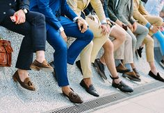 street style spring summer 2015- Milan fashion week. Mens loafers and no socks in sight! #menswear #mensfashion