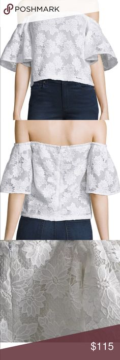 Nwt Nicholas off-the-shoulder floral lace top Nicholas floral-lace top. Off-the-shoulder neckline. Half sleeves. Slim silhouette. Straight hem. Hidden back zip. Polyester. Lining, silk. Imported. NICHOLAS Tops Blouses