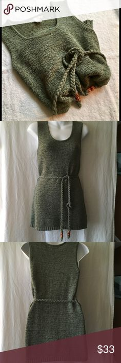 "SARAH SPENCER SLEEVELESS TOP,  size Small SARAH SPENCER OPEN WEAVE TOP, SIZE SMALL, but has stretch so could fit medium. Corded belt, 67% cotton and 33% poly.  Beautiful sage green color 15"" chest 27"" length. NEVER WORN. Sarah Spencer Tops"