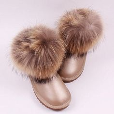 TIIDA 2016 Fashion Thick Fox fur Snow Boots Women Boots 100% Genuine  Leather Waterproof Winter Warm Snow Boots Ankle Boots 1bef3d3f33