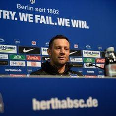 Coach of Bundesliga club Hertha BSC Pal Dardai talks to the press in Berlin