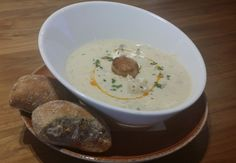 This rich and creamy chowder features local haddock, shrimp, scallops and bacon - each spoonful offers a hearty bite of Nova Scotia& finest ingredients. Canadian Food, Canadian Recipes, Scallops, Nova Scotia, Fresh Herbs, Cheeseburger Chowder, Seafood, Bacon, Ethnic Recipes