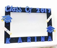 Personalized black and blue photo frame prop for graduation from RBee Crafts.