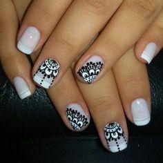 Uñas Mandala Nails, Nagellack Trends, Lace Nails, French Tip Nails, Nail Decorations, Nail Stamping, Cool Nail Art, Nail Arts, Manicure And Pedicure