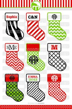 Christmas Stocking SVG Cut Files - Monogram Frames for Vinyl Cutters, Screen Printing, Silhouette, Die Cut Machines, & More