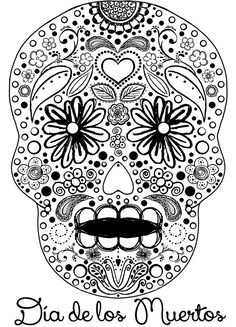 Day of the Dead Sugar Skull Coloring Page and other arts and crafts projects for:  Dia de los Muertos