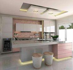 Cozinha cinza e rosa! 📐Autoria do Projeto: Dileia Bezerra ➡️Sigam também: Home Room Design, Dream Home Design, Home Interior Design, Interior Decorating, Style At Home, Home Decor Kitchen, Kitchen Design, Kitchen Models, Dream Rooms