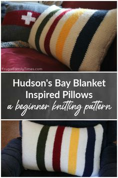 A simple knitting pattern for total beginners or experts alike. How to knit a Hudson's Bay blanket inspired pillow. Classic cabin look with stripes of blue, yellow, red and green. Makes a lumbar sized pillow. Simple Knitting, Easy Knitting Patterns, Crochet Patterns For Beginners, Knitting For Beginners, Knitting Projects, Craft Tutorials, Craft Projects, Craft Ideas, Decor Ideas