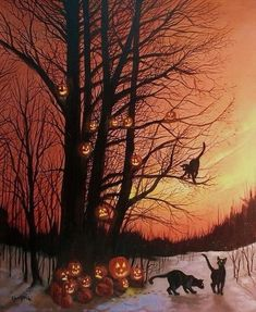 The Pumpkin Tree Halloween pumpkin scary creepy, black cat, jack-o-lantern Retro Halloween, Halloween Prints, Halloween Pictures, Halloween Night, Spooky Halloween, Holidays Halloween, Happy Halloween, Halloween Decorations, Halloween Stuff