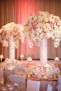 pink blush and yellow wedding centerpiece