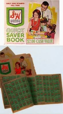 Green stamps given with purchases at local stores. Books of stamps could be redeemed for merchandise.