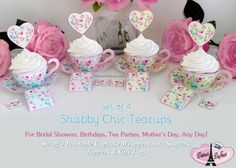 Consider this on my hint list!   Print and create these Shabby Chic Teacup Style Cupcake Wrappers with Saucers, Teabag Gift Cards and Heart-shaped Cupcake Toppers.   You get all four colours.  (You get a computer document and can print as many copies as you want.)  She also sells printable cups with bottoms to hold treats.