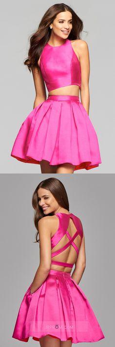 Two-Piece Homecoming Dresses Cross Back Satin Item Code:#JRPCK5H2TQ