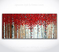 Contemporary ORIGINAL Abstract Modern Birch Tree Autumn Landscape Fine Art Bright Oil Palette Knife Painting on 40x18 Canvas by Denisa Laura...