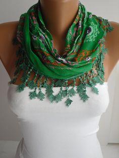 Green Floral Triangle Cotton Shawl Scarf  Headband  Cowl by DIDUCI, $16.90