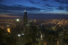 Night photo of Chicago