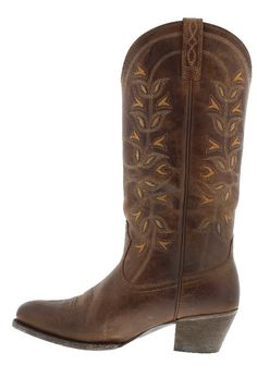 """Ariat Women's 13"""" Desert Holly Brown Round Toe Boots Made from premium top grain leather, these brown boots feature a round almond toe profile and hand-nailed distressed leather outsoles. A contrasting stitch with a vine motif decorates the 13"""" shafts. Their ATS footbed technology promotes good posture and reduces fatigue with a gel cushion and a composite forked shank. Perfect for any cowgirl steppin' out in the city or any city girl who wants a taste of country  