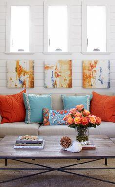 Stunning Beach House Interior Designs: Fabric Sofa Red Blue Cushions Wood Coffee Table Beach House ~ sabpa.com Villa Inspiration