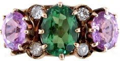 demantoid garnet and amethyst suffragette ring