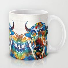 Colorful Buffalo Art - Sacred - By Sharon Cummings Mug by Sharon Cummings - $15.00